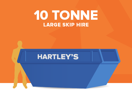 10 tonne large size skip for hire with orange background and size comparison