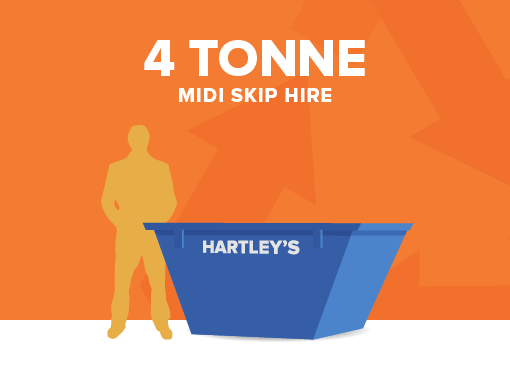 4 tonne midi size skip for hire with orange background and size comparison