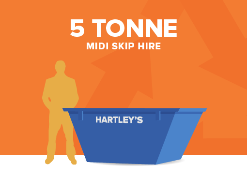 5 tonne midi size skip for hire with orange background and size comparison