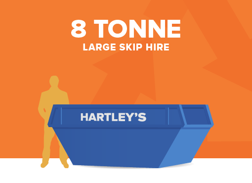 3 tonne large size skip for hire with orange background and size comparison